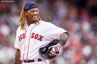 BOSTON, MA - APRIL 16: Hanley Ramirez #13 of the Boston Red Sox reacts during the seventh inning of a game against the Tampa Bay Rays on April 16, 2017 at Fenway Park in Boston, Massachusetts. (Photo by Billie Weiss/Boston Red Sox/Getty Images) *** Local Caption *** Hanley Ramirez
