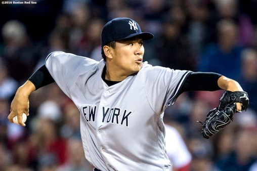 BOSTON, MA - APRIL 27: Masahiro Tanaka #19 of the New York Yankees delivers during the third inning of a game against the Boston Red Sox on April 27, 2017 at Fenway Park in Boston, Massachusetts. (Photo by Billie Weiss/Boston Red Sox/Getty Images) *** Local Caption *** Masahiro Tanaka