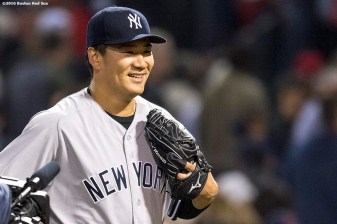 BOSTON, MA - APRIL 27: Masahiro Tanaka #19 of the New York Yankees reacts after pitching a complete game against the Boston Red Sox on April 27, 2017 at Fenway Park in Boston, Massachusetts. (Photo by Billie Weiss/Boston Red Sox/Getty Images) *** Local Caption *** Masahiro Tanaka
