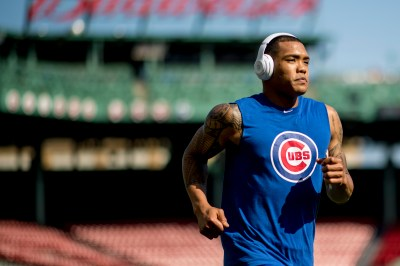 BOSTON, MA - APRIL 28: Addison Russell #27 of the Chicago Cubs warms up before a game against the Boston Red Sox on April 28, 2017 at Fenway Park in Boston, Massachusetts. (Photo by Billie Weiss/Boston Red Sox/Getty Images) *** Local Caption ***Addison Russell