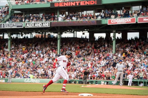 BOSTON, MA - APRIL 29: Andrew Benintendi #16 of the Boston Red Sox rounds the bases after hitting a solo home run during the fifth inning of a game against the Chicago Cubs on April 29, 2017 at Fenway Park in Boston, Massachusetts. (Photo by Billie Weiss/Boston Red Sox/Getty Images) *** Local Caption *** Andrew Benintendi