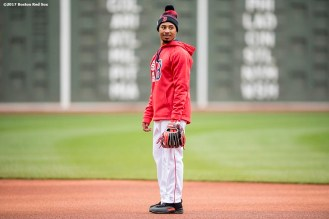 BOSTON, MA - APRIL 30: Mookie Betts #50 of the Boston Red Sox reacts before a game against the Chicago Cubs on April 30, 2017 at Fenway Park in Boston, Massachusetts. (Photo by Billie Weiss/Boston Red Sox/Getty Images) *** Local Caption *** Mookie Betts