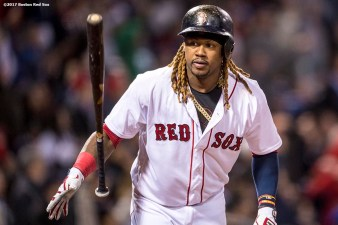 BOSTON, MA - APRIL 30: Hanley Ramirez #13 of the Boston Red Sox flips his bat after hitting a two run home run during the first inning of a game against the Chicago Cubs on April 30, 2017 at Fenway Park in Boston, Massachusetts. (Photo by Billie Weiss/Boston Red Sox/Getty Images) *** Local Caption *** Hanley Ramirez