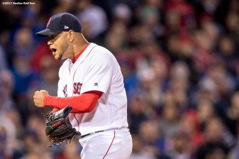 BOSTON, MA - APRIL 30: Eduardo Rodriguez #52 of the Boston Red Sox reacts during the fourth inning of a game against the Chicago Cubs on April 30, 2017 at Fenway Park in Boston, Massachusetts. (Photo by Billie Weiss/Boston Red Sox/Getty Images) *** Local Caption *** Eduardo Rodriguez