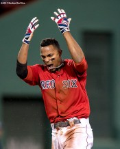 BOSTON, MA - MAY 12: Xander Bogaerts #2 of the Boston Red Sox reacts after hitting a double during the eighth inning of a game against the Tampa Bay Rays on May 12, 2017 at Fenway Park in Boston, Massachusetts. (Photo by Billie Weiss/Boston Red Sox/Getty Images) *** Local Caption *** Xander Bogaerts
