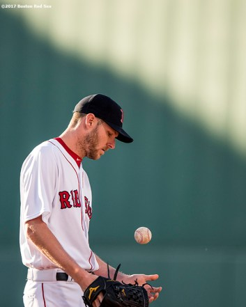 BOSTON, MA - MAY 24: Chris Sale #41 of the Boston Red Sox warms up before a game against the Texas Rangers on May 24, 2017 at Fenway Park in Boston, Massachusetts. (Photo by Billie Weiss/Boston Red Sox/Getty Images) *** Local Caption *** Chris Sale