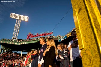 BOSTON, MA - MAY 24: Fans look on during the National Anthem before a game between the Boston Red Sox and the Texas Rangers on May 24, 2017 at Fenway Park in Boston, Massachusetts. (Photo by Billie Weiss/Boston Red Sox/Getty Images) *** Local Caption ***