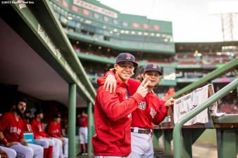 BOSTON, MA - MAY 26: Brock Holt #12 and Andrew Benintendi #16 of the Boston Red Sox pose for a photograph before a game against the Seattle Mariners on May 26, 2017 at Fenway Park in Boston, Massachusetts. (Photo by Billie Weiss/Boston Red Sox/Getty Images) *** Local Caption *** Brock Holt; Andrew Benintendi