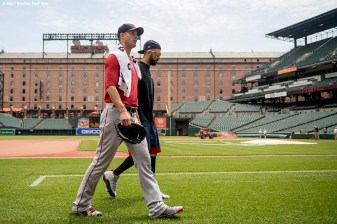 BOSTON, MA - JUNE 4: Rick Porcello #22 and David Price #24 of the Boston Red Sox walk toward the dugout before a game against the Baltimore Orioles on June 4, 2017 at Oriole Park at Camden Yards in Baltimore, Maryland. (Photo by Billie Weiss/Boston Red Sox/Getty Images) *** Local Caption *** Rick Porcello; David Price