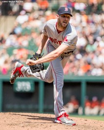 BOSTON, MA - JUNE 4: Chris Sale #41 of the Boston Red Sox delivers during the second inning of a game against the Baltimore Orioles on June 4, 2017 at Oriole Park at Camden Yards in Baltimore, Maryland. (Photo by Billie Weiss/Boston Red Sox/Getty Images) *** Local Caption *** Chris Sale