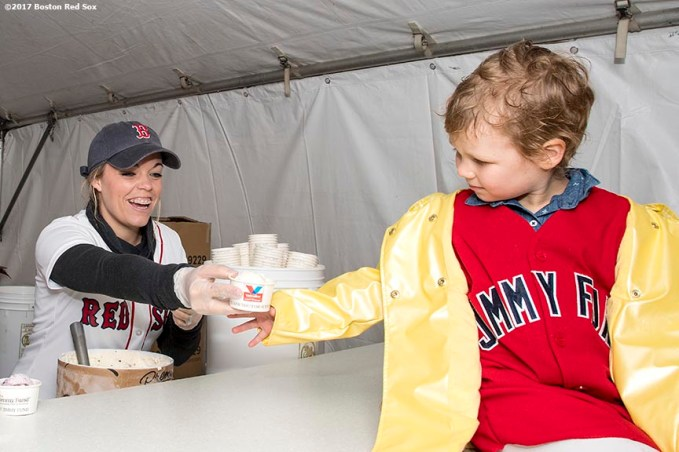 June 6, 2017, Boston, MA: Boston Red Sox wife Erin Bradley serves a cup of ice cream to Jimmy Fund patient Maddie during the 2017 Jimmy Fund Scooper Bowl at City Hall Plaza in Boston, Massachusetts Tuesday, June 6, 2017. (Photo by Billie Weiss/Boston Red Sox)