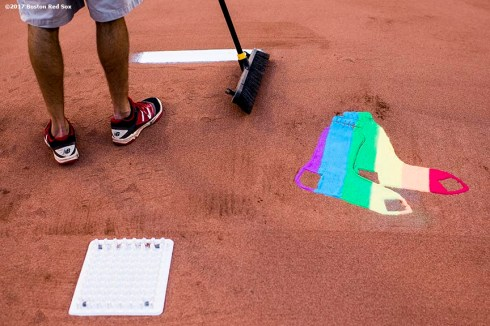 BOSTON, MA - JUNE 9: A stencil is painted on the pitcher's mound in recognition of Pride Night during a game between the Boston Red Sox and the Detroit Tigers on June 9, 2017 at Fenway Park in Boston, Massachusetts. (Photo by Billie Weiss/Boston Red Sox/Getty Images) *** Local Caption ***