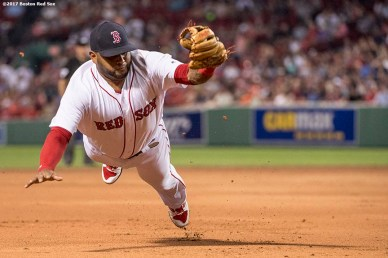 BOSTON, MA - JUNE 12: Pablo Sandoval #48 of the Boston Red Sox makes a diving catch during the ninth inning of a game against the Philadelphia Phillies on June 12, 2017 at Fenway Park in Boston, Massachusetts. (Photo by Billie Weiss/Boston Red Sox/Getty Images) *** Local Caption *** Pablo Sandoval