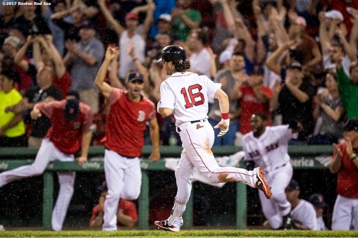 BOSTON, MA - JUNE 13: Andrew Benintendi #16 of the Boston Red Sox runs up the line after hitting a game winning walk off double against the Philadelphia Phillies on June 13, 2017 at Fenway Park in Boston, Massachusetts. (Photo by Billie Weiss/Boston Red Sox/Getty Images) *** Local Caption *** Andrew Benintendi