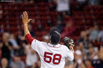 BOSTON, MA - JUNE 13: Fernando Abad #58 of the Boston Red Sox reacts during the eleventh inning of a game against the Philadelphia Phillies on June 13, 2017 at Fenway Park in Boston, Massachusetts. (Photo by Billie Weiss/Boston Red Sox/Getty Images) *** Local Caption *** Fernando Abad