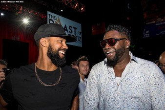 June 22, 2017, Boston, MA: Former Boston Red Sox designated hitter David Ortiz talks with outfielder Chris Young during the Roast of David Ortiz, benefitting the David Ortiz Children's Fund, at House of Blues in Boston, Massachusetts Thursday, June 22, 2017. (Photo by Billie Weiss/Boston Red Sox)