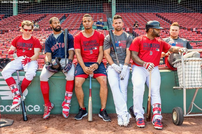 BOSTON, MA - JUNE 24: Brock Holt #12, Chris Young #30, Xander Bogaerts #2, Deven Marrero #17, Pablo Sandoval #48, and Christian Vazquez #7 of the Boston Red Sox lean against the wall during a simulated agme before a game against the Los Angeles Angels of Anaheim on June 24, 2017 at Fenway Park in Boston, Massachusetts. (Photo by Billie Weiss/Boston Red Sox/Getty Images) *** Local Caption *** Brock Holt; Chris Young; Xander Bogaerts; Deven Marrero; Pablo Sandoval; Christian Vazquez
