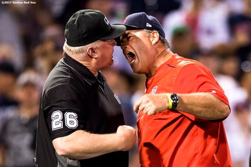 BOSTON, MA - JUNE 24: Manager John Farrell of the Boston Red Sox argues a balk call with the umpire Bill Miller during the seventh inning of a game against the Los Angeles Angels of Anaheim on June 24, 2017 at Fenway Park in Boston, Massachusetts. (Photo by Billie Weiss/Boston Red Sox/Getty Images) *** Local Caption *** John Farrell; Bill Miller