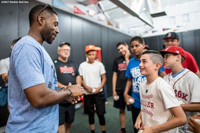 June 26, 2017, Boston, MA: Boston Red Sox center fielder Jackie Bradley Jr. signs autographs during a visit to The Base in West Roxbury, Massachusetts Monday June 26, 2017. (Photo by Billie Weiss/Boston Red Sox)