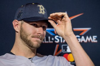 MIAMI, FL - JULY 10: Chris Sale #41 of the Boston Red Sox speaks to the media as he is announced as the starting pitcher during Gatorade All-Star Workout Day at Marlins Park on July 10, 2017 in Miami, Florida. (Photo by Billie Weiss/Boston Red Sox/Getty Images) *** Local Caption *** Chris Sale