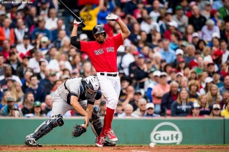 BOSTON, MA - JULY 14: Xander Bogaerts #2 of the Boston Red Sox reacts as Gary Sanchez #24 of the New York Yankees chases a dropped third strike during the first inning of a game on July 14, 2017 at Fenway Park in Boston, Massachusetts. (Photo by Billie Weiss/Boston Red Sox/Getty Images) *** Local Caption *** Xander Bogaerts; Gary Sanchez