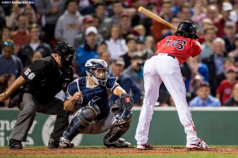 BOSTON, MA - JULY 14: Andrew Benintendi #16 of the Boston Red Sox takes ball four as he is walked to drive in the game winning run during the ninth inning of a game against the New York Yankees on July 14, 2017 at Fenway Park in Boston, Massachusetts. (Photo by Billie Weiss/Boston Red Sox/Getty Images) *** Local Caption *** Andrew Benintendi