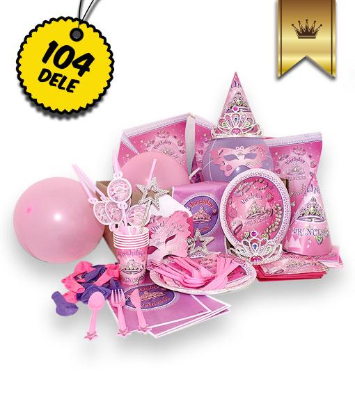 Luksus Prinsesse pakken -Luksus pakke med alt hvad du behøver til den perfekte prinsesse fødselsdag: Danmarks bedste og billigste prinsesse børnefødselsdags