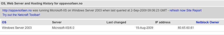 Informasjon om serverprogramvaren på SV sitt nettsted oppavsofaen.no