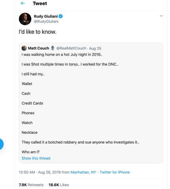 Rudy Seth Rich Tweet