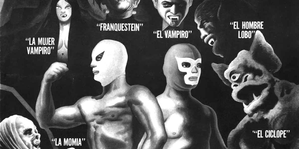 A shot of the movie poster for Santo and Blue Demon vs The Monsters