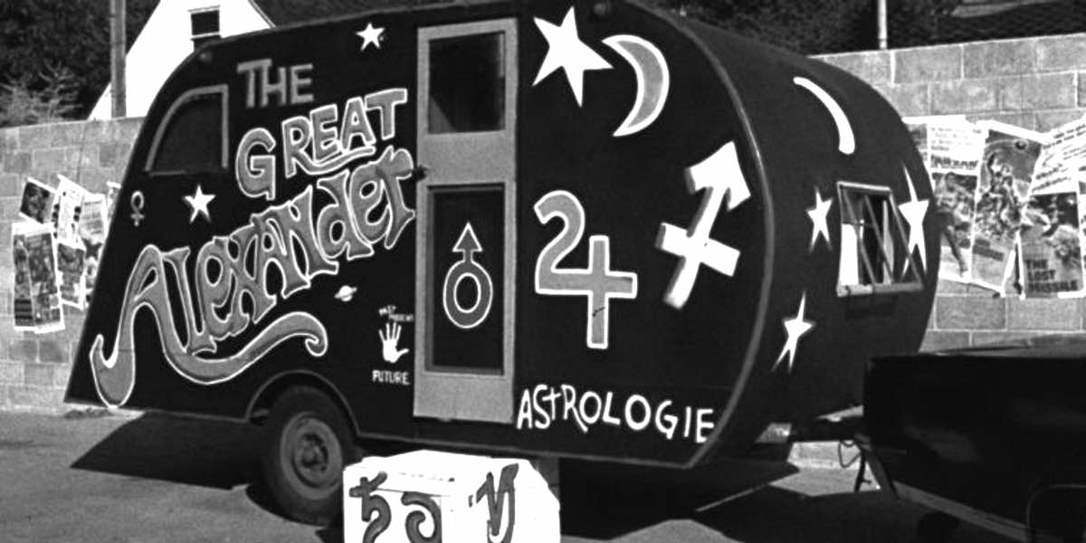 "A shot of the astrologer's trailer from Craig Denney's 1976 film, ""The Astrologer"""