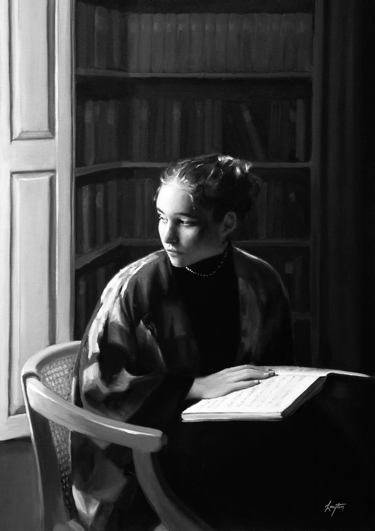 The young woman in the library -