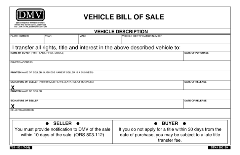DMV bill of sale for vehicle