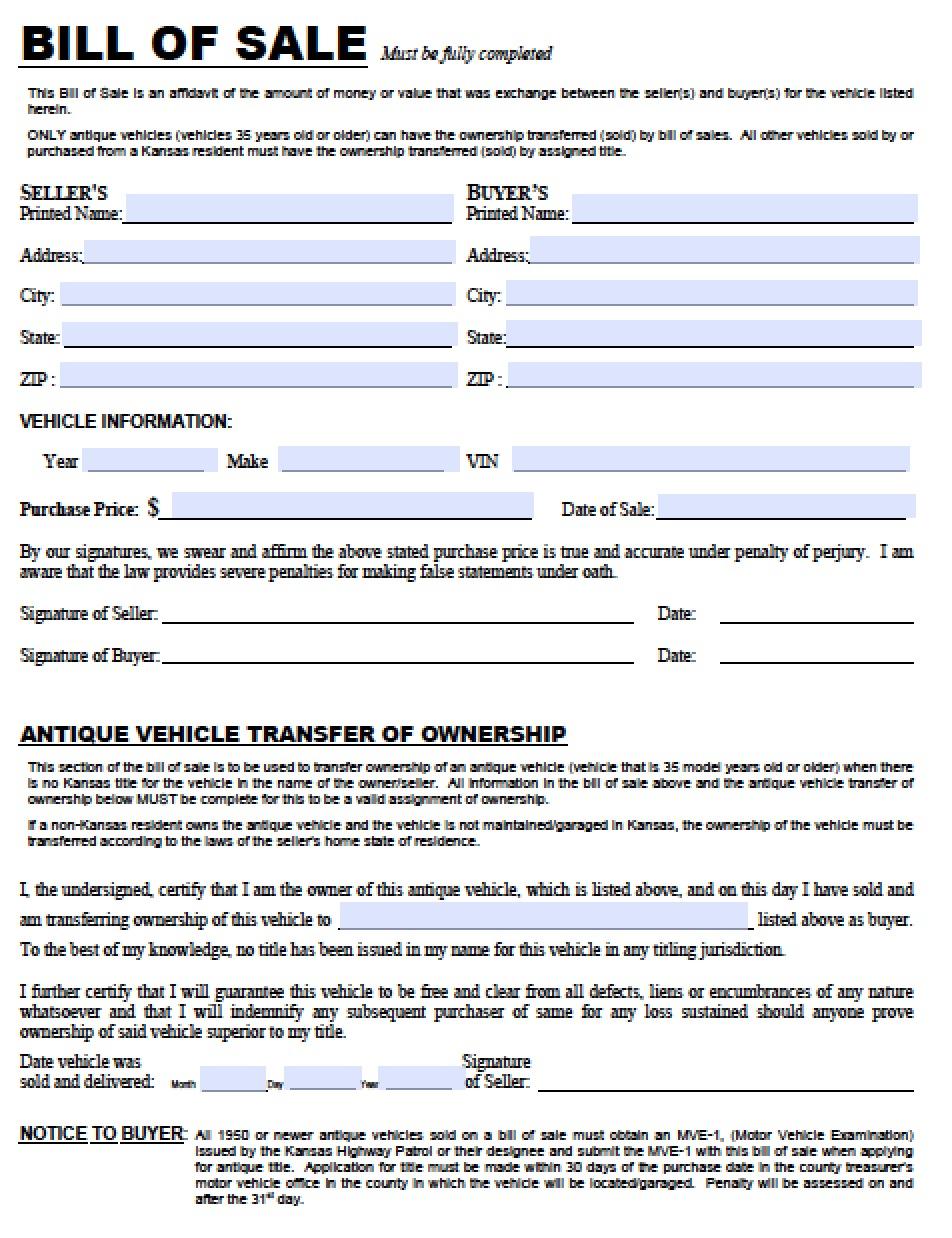 Free Kansas Dmv Vehicle Bill Of Sale Tr 12 Form Pdf