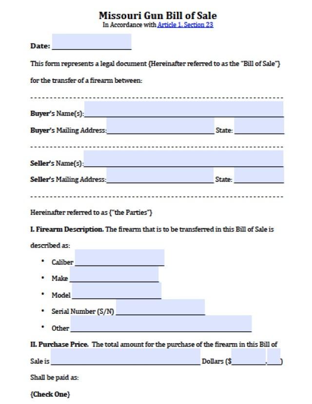 Firearm Bill Of Sale Form  Free Download