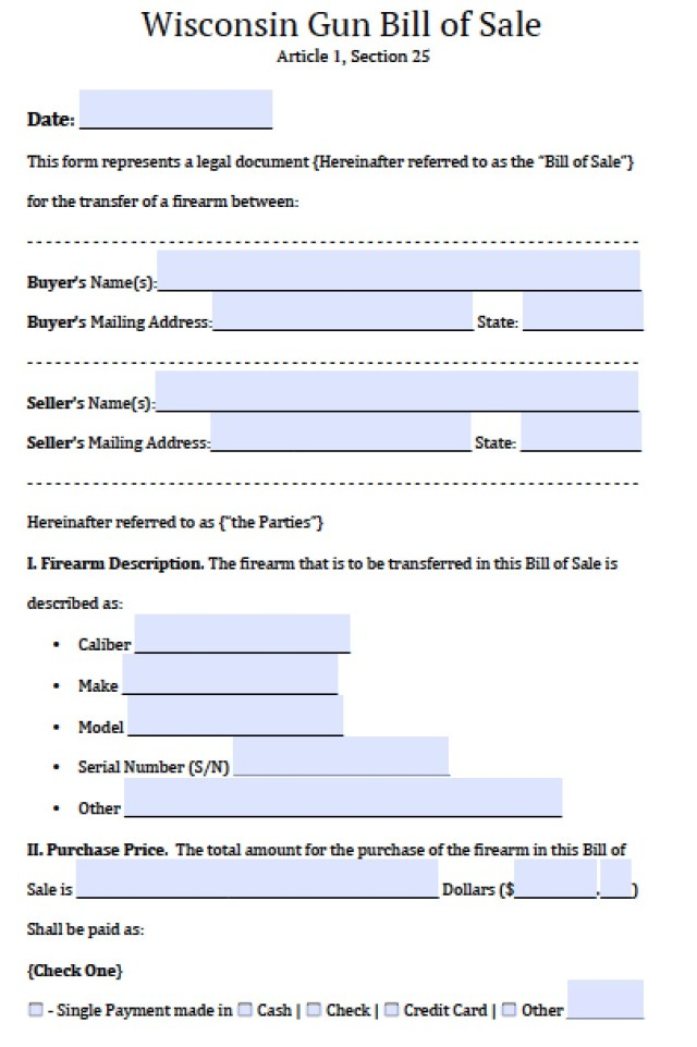 Firearm Bill Of Sale Form  Free Download