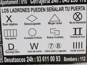 Burglars and house breakers symbols, Barcelona, 2015