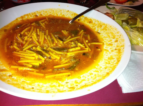 Minetrone soup as served as a first-course as part of a menú del día as served at Morryssom's.