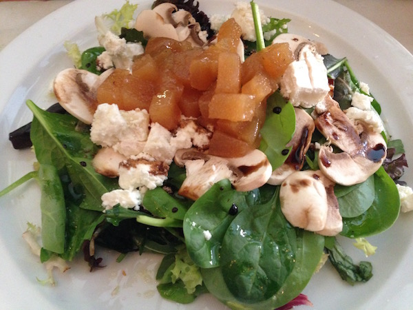Goat cheese, mushroom and pear salad