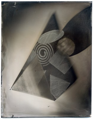 "The finished product: Pythagoras #22, a 8""x6"" collodion wet-plate tintype photogram"