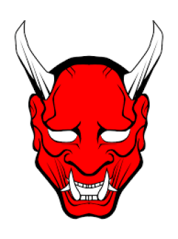 red demon head with horns
