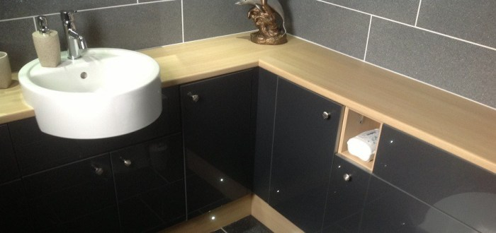 image for Bathroom Design, Supply And Installation Of The Gloss Black  range. By Billy Walker Joinery Services Ltd, Fraserburgh, Aberdeenshire.