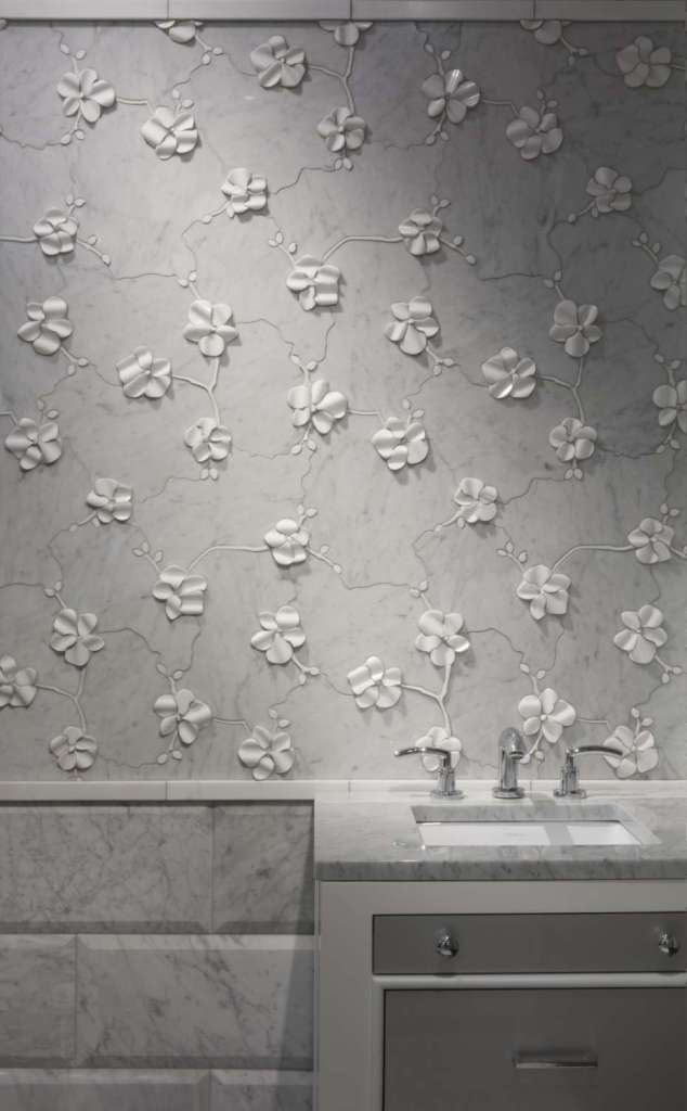 Bianco carrara orchid dimensional wall tile by Artistic Tile.