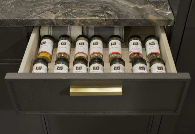 All your spices at a glance in a custom spice drawer.