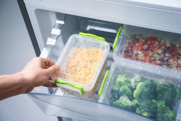 Neatly organized refrigerator drawer.