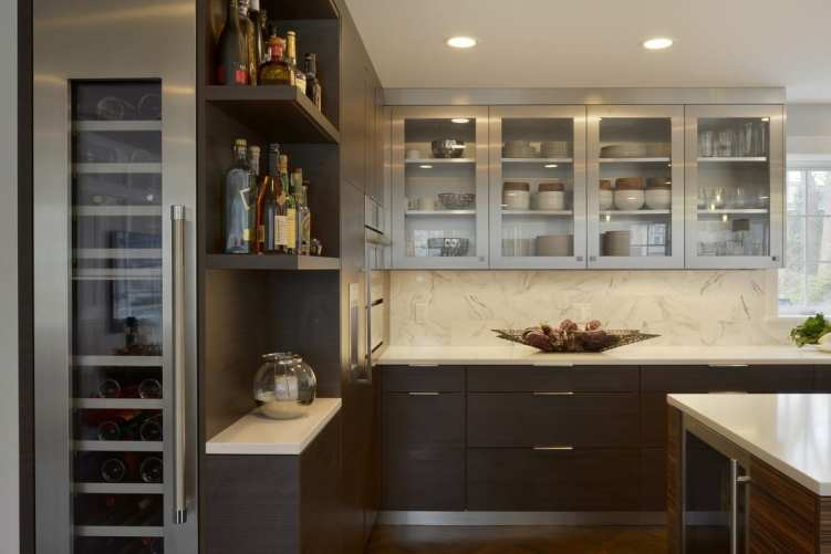 Contemporary Kitchen in Zebrawood & Stainless