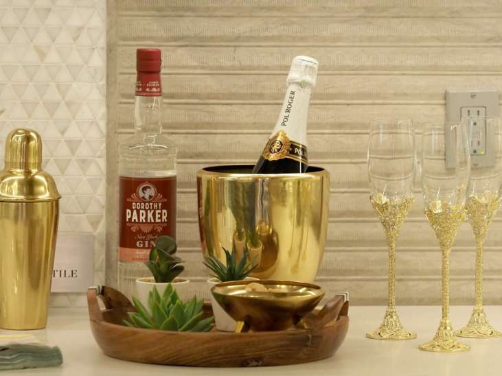 Champagne Flutes & Gold Ice Bucket