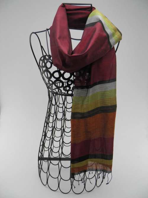 Essential Scarf – Burgundy-Gold-Silver-Copper