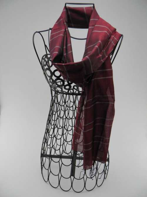 Burgundy Scarf - Silver Stripes - Essential