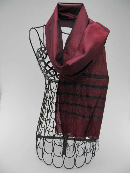 Essential Scarf - Black Stripes - Burgundy